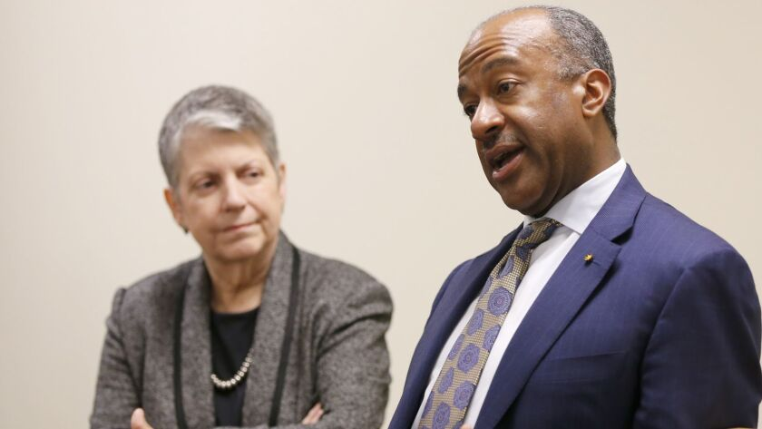 Gary May is seen in a February 2017 file photo speaking with UC President Janet Napolitano. May, the chancellor of UC Davis, condemned the recent posting of anti-Semitic fliers on the college's campus.