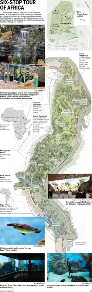 Africa Rocks at the San Diego Zoo. (Union-Tribune graphic)
