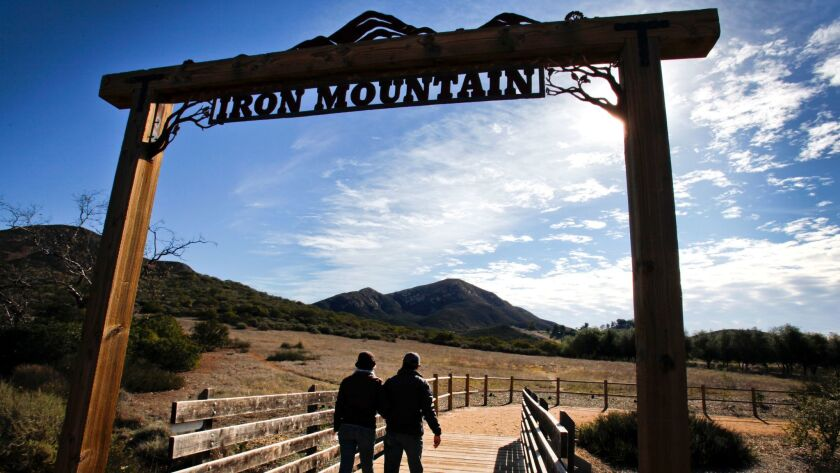 Hikers begin the Iron Mountain Trail in Poway.
