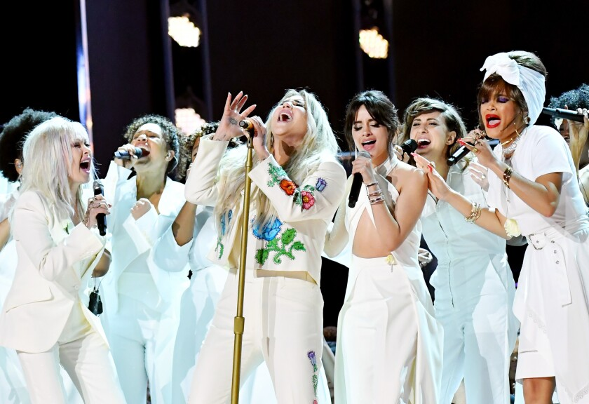 Bebe Rexha, Cyndi Lauper, Kesha, Camila Cabello, Andra Day and Julia Michaels perform onstage during the 60th Annual GRAMMY Awards at Madison Square Garden on January 28, 2018 in New York City.