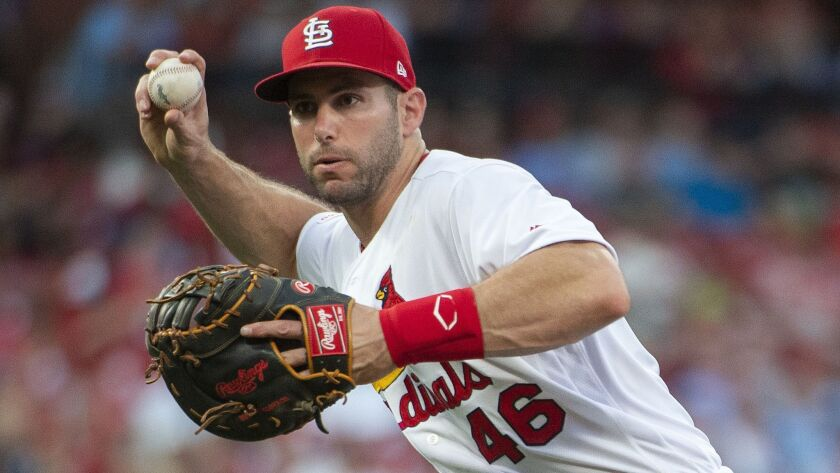 St. Louis Cardinals first baseman Paul Goldschmidt throws the ball to first in a baseball game again