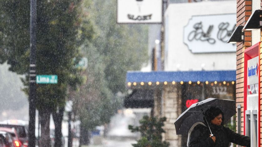 BURBANK, CALIF. - FEBRUARY 02: A person uses a Bank of America ATM while trying to stay dry along Ma