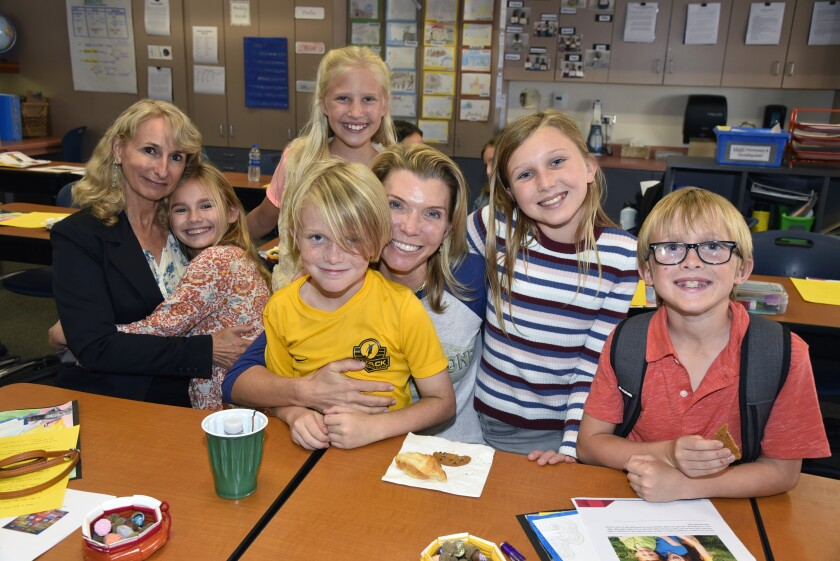Linda O'Neill with Michelle, Olivia, Daniel, Courtney Murphy, Quinn, and Henry
