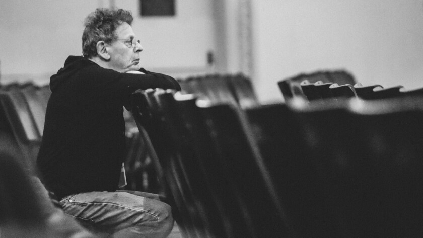 Composer Philip Glass at the Tibet House 30th Anniversary benefit in New York in 2017.