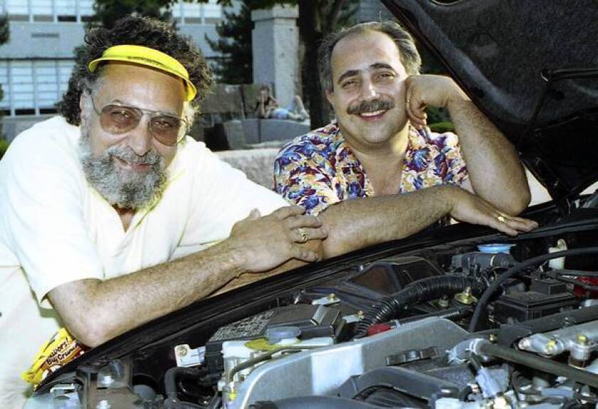 Brothers Tom, left, and Ray Magliozzi, shown in 1991, say they'll stop making new episodes of their joke-filled car advice show in September.