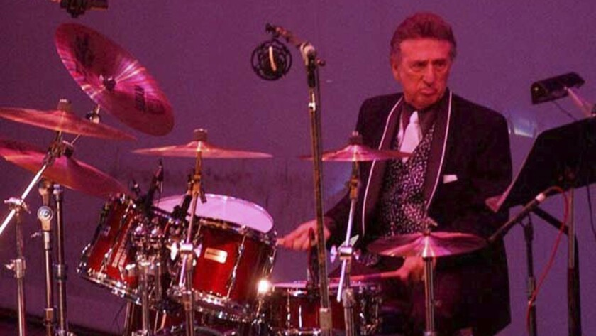 FILE- In this Oct. 16, 2004 file photo, longtime Elvis Presley drummer D.J. Fontana performs at the