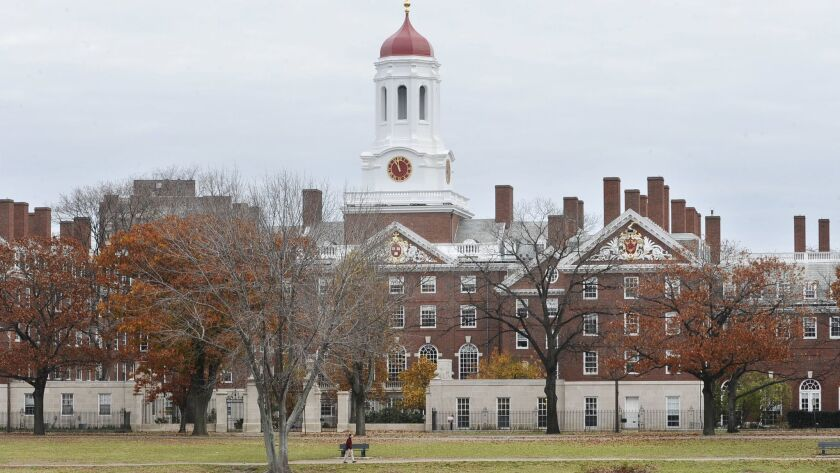 FILE - This Nov. 13, 2008 file photo shows the campus of Harvard University in Cambridge, Mass. The