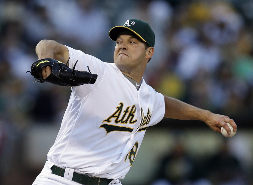 Rich Hill pitches for Oakland.