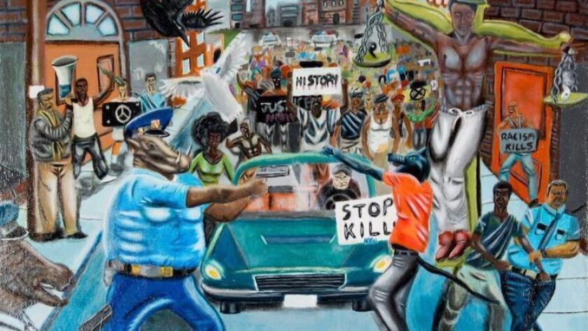 Award-winning student painting that depicted a police officer as an animal was removed from a Capitol wall by Rep. Duncan Hunter.