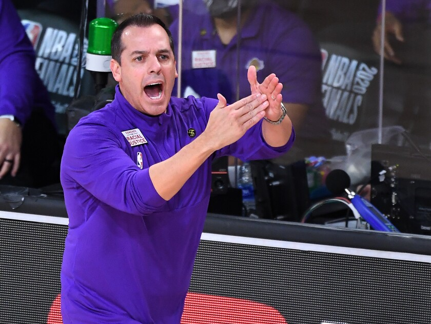 Lakers coach Frank Vogel calls for a timeout during Game 1 of the NBA Finals.