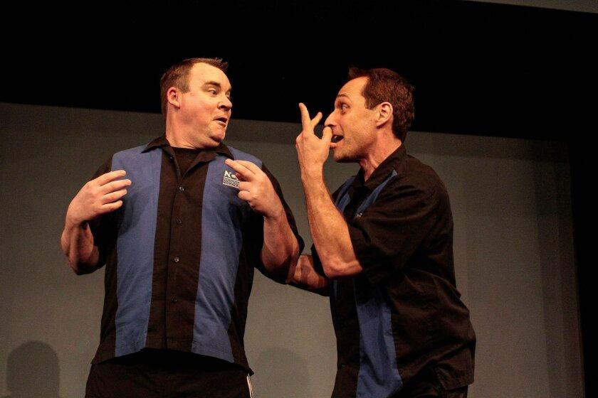 Greg Rojcewicz and Gary Kramer of National Comedy Theatre during an improv performance.   CREDIT: Daren Scott