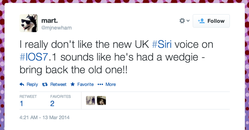 British Apple users are upset that the company changed the voice of Siri in iOS 7.1.