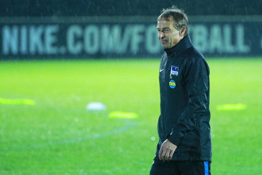 Jurgen Klinsmann, former coach of the U.S. men's national soccer team, is working for the German club team Hertha Berlin.
