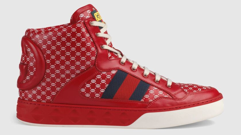 The luxury Italian label Gucci currently offers up high-top basketball shoes, in collaboration with