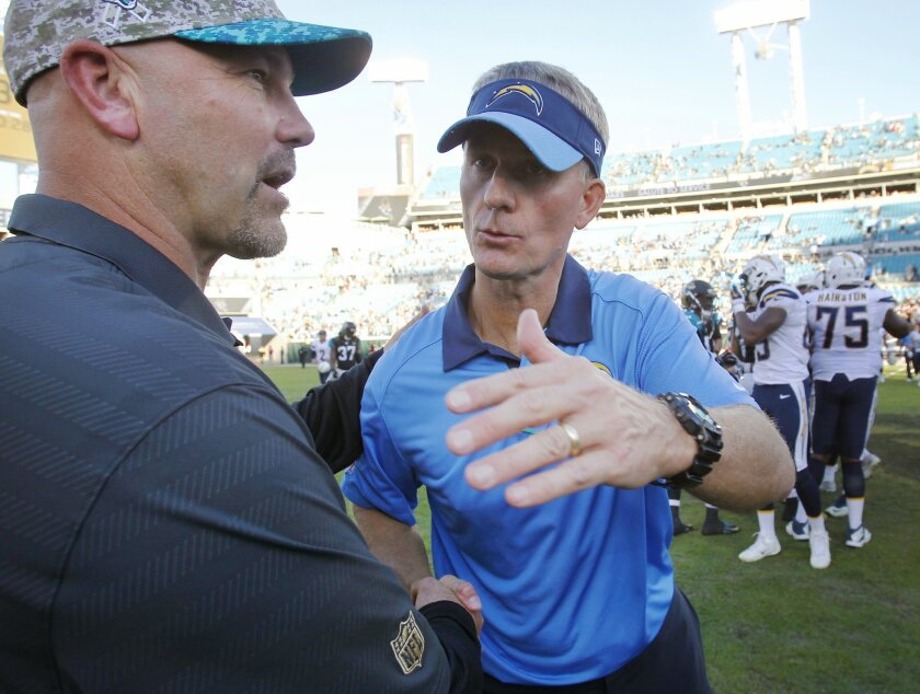 San Diego Chargers Mike McCoy greets Jacksonville's Gus Bradley after a 31-25 win over Jacksonville.(K.C. Alfred/ San Diego Union-Tribune)