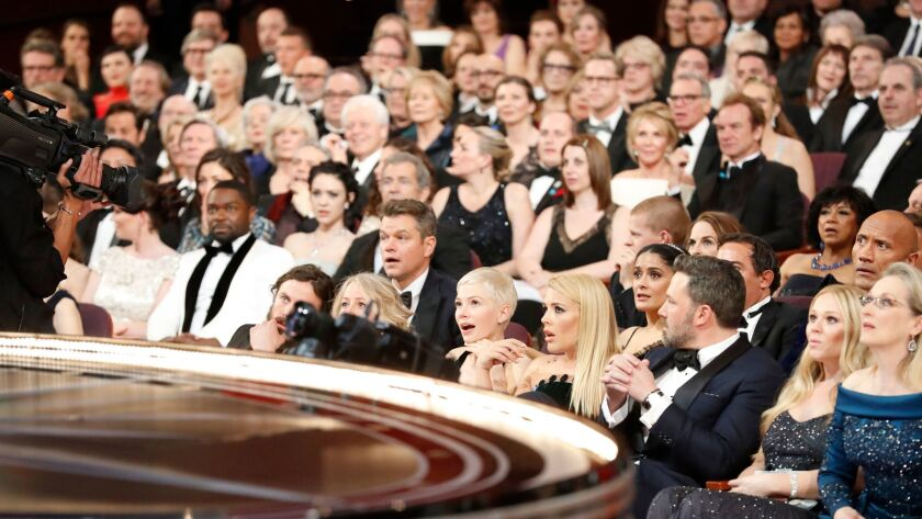 """The stunned audience after """"La La Land"""" was found to have been mistakenly announced as best picture over """"Moonlight"""" at last year's Academy Awards."""