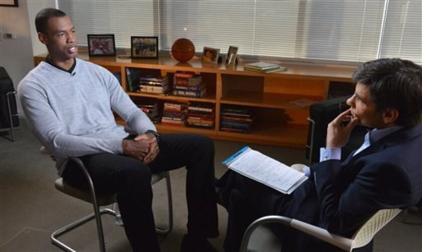 In this photo provided by ABC, NBA basketball veteran Jason Collins, left, speaks during an interview with George Stephanopoulos, Monday, April 29, 2013, in Los Angeles. In a first-person article posted Monday on Sports Illustrated's website, Collins became the first active player in one of four ma