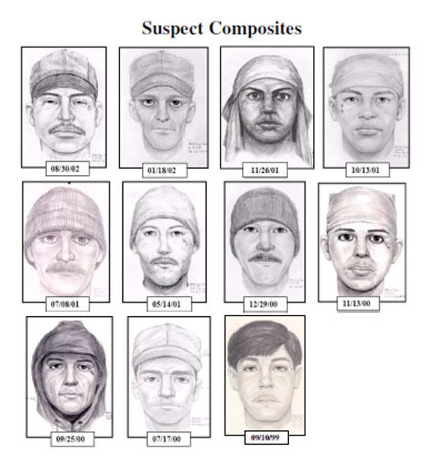 """A person dubbed the """"teardrop"""" rapist and suspected of at least 35 rapes across the Los Angeles area is shown in this series of composite artist sketches provided by the FBI."""