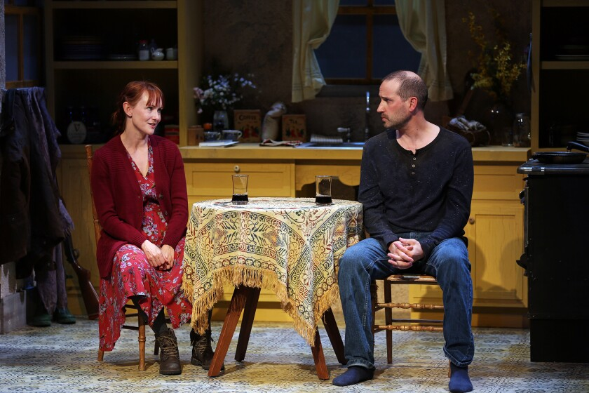 """Devon Sorvari and Scott Ferrara in South Coast Repertory's production of """"Outside Mullingar"""" by John Patrick Shanley. The production was in previews when the coronavirus closures hit."""