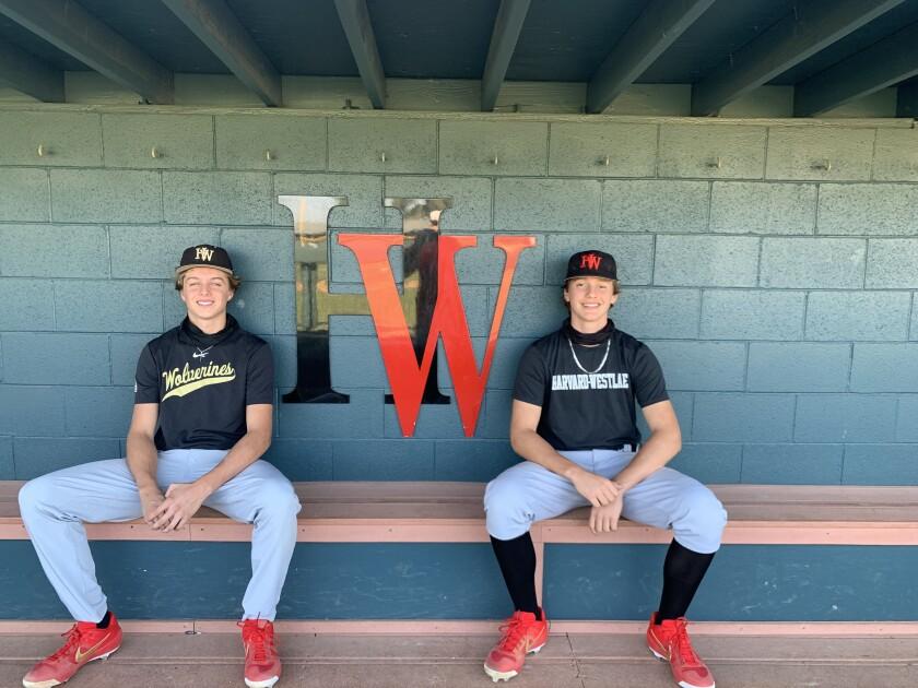 Harvard-Westlake freshman pitchers Bryce Rainer, left, and Duncan Marsten have promising futures.