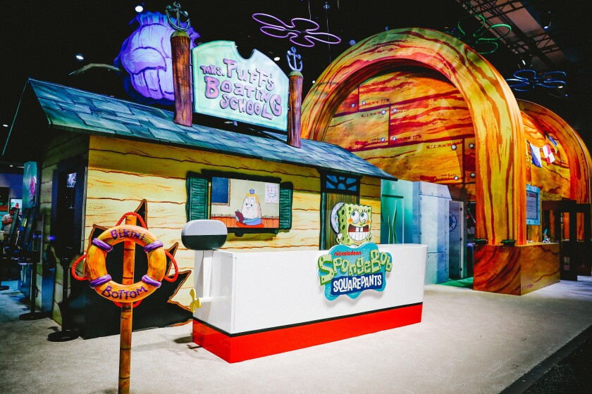 "Nickelodeon's booth at San Diego Comic-Con 2019 is dedicated to ""SpongeBob Squarepants"" for the show's 20th anniversary"