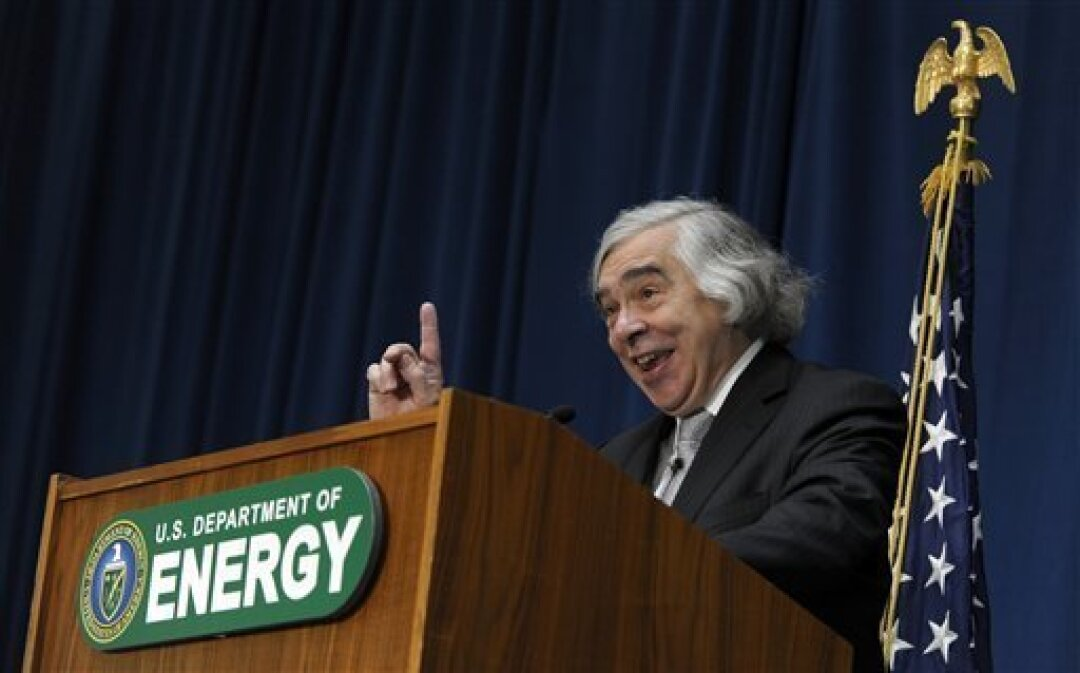 Dr. Ernest Moniz speaks after being sworn in as Energy Secretary, Tuesday, May 21, 2013, during a ceremony at the Energy Department in Washington. Moniz, 68, a professor at the Massachusetts Institute of Technology, replaces Steven Chu, who served as energy secretary in President Barack Obama's fir