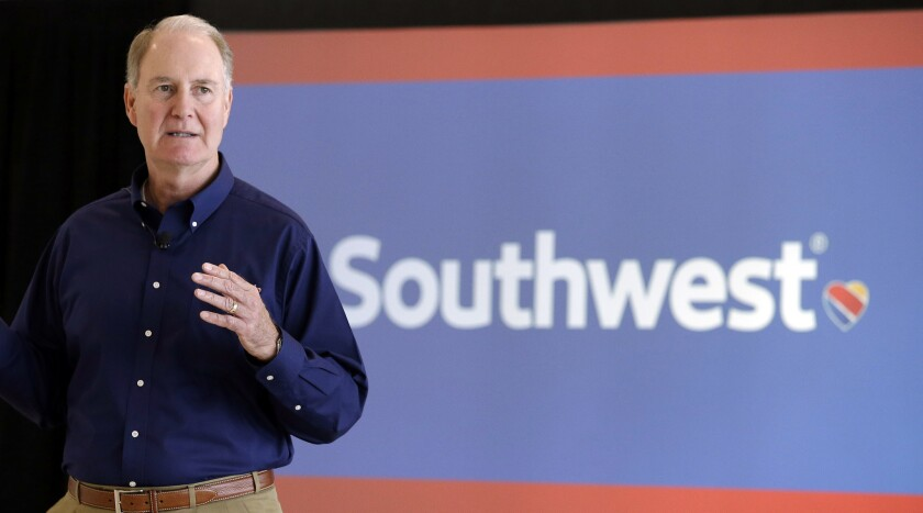 Southwest Airlines CEO Gary Kelly speaks at Houston Hobby Airport. Southwest announced it would pay $1,000 bonuses to employees because of the recently enacted tax cuts.