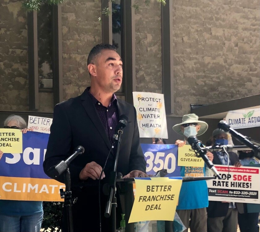 Sean Elo-Rivera, a San Diego City councilman, speaks at a rally Monday.