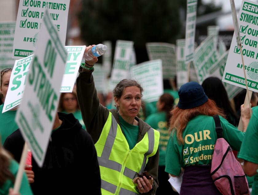 AFSCME 3299 President Kathryn Lybarger led a two-day strike at UC campuses and medical centers in May. The union and UC on Friday announced a contract settlement.