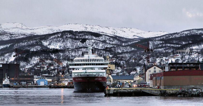 Hurtigruten's Kong Harald (King Harald) ship in Harstad, Norway.