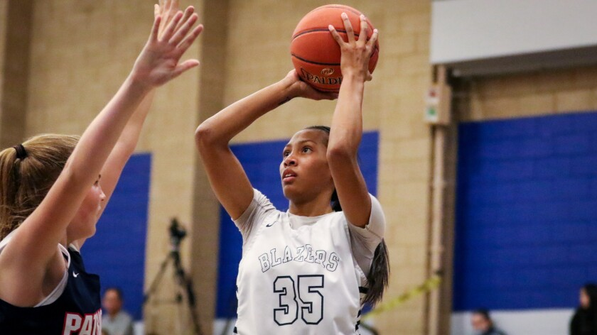 Sierra Canyon's Alexis Mark shoots a baseline jumper over a Viewpoint defender during the Trailblazers' 71-49 victory on Wednesday.
