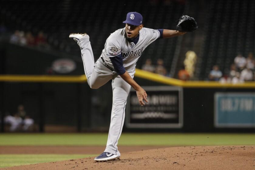Padres starting pitcher Ronald Bolanos made his major league debut Tuesday against the Arizona Diamondbacks.