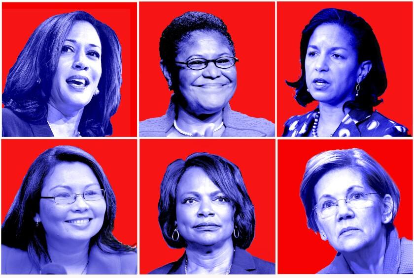 Clockwise from top left: Kamala Harris, Karen Bass, Susan Rice, Elizabeth Warren, Val Demings and Tammy Duckworth.