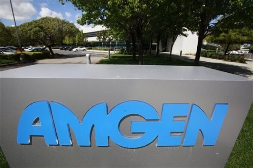 FILE - This April 20, 2010, file photo shows an exterior view of Amgen offices in Fremont, Calif. Amgen Inc. reports quarterly earnings on Tuesday, Oct. 22, 2013. (AP Photo/Paul Sakuma, File)