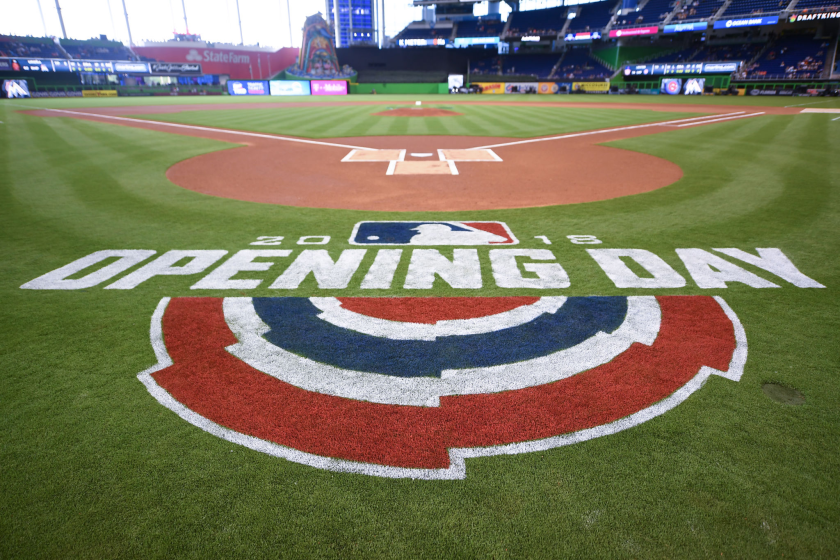 A view of the opening day logo in Miami in 2018 as the Marlins prepared to play the Chicago Cubs.