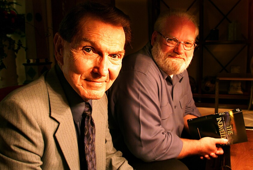 "Tim LaHaye, left, and Jerry Jenkins co-authored the ""Left Behind"" series"