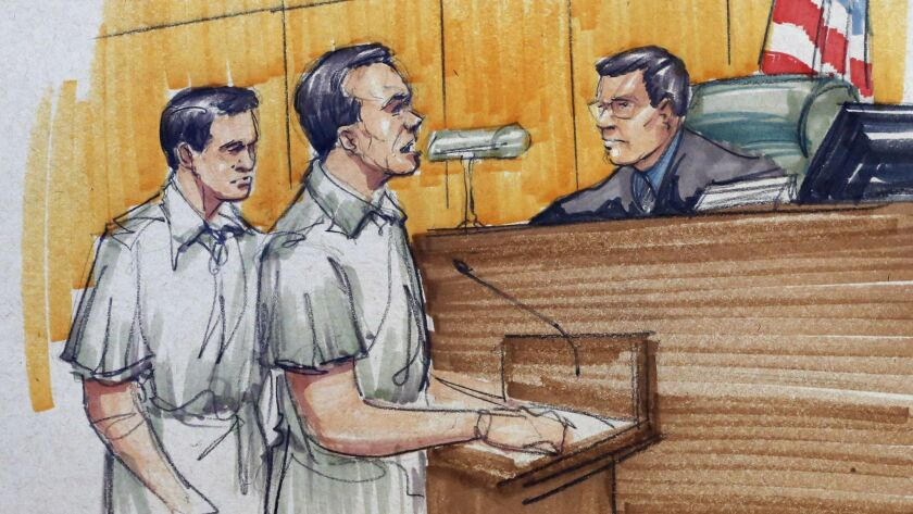 """In a 2015 courtroom sketch, Pedro Flores, left, appears before a judge in Chicago with his twin brother, Margarito. Pedro Flores testified against Mexican drug kingpin Joaquin """"El Chapo"""" Guzman on Tuesday in New York."""