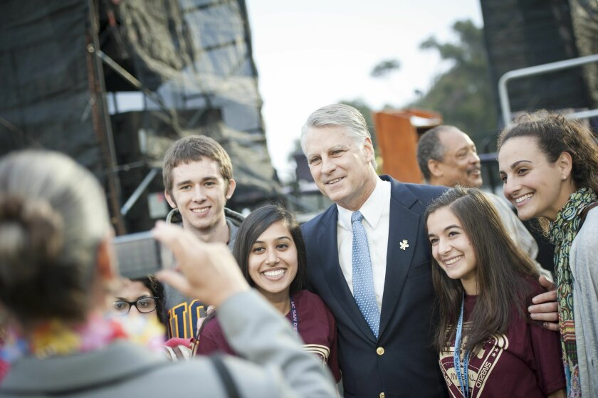 UCSD students pose with Tim Roemer at the convocation event last week.