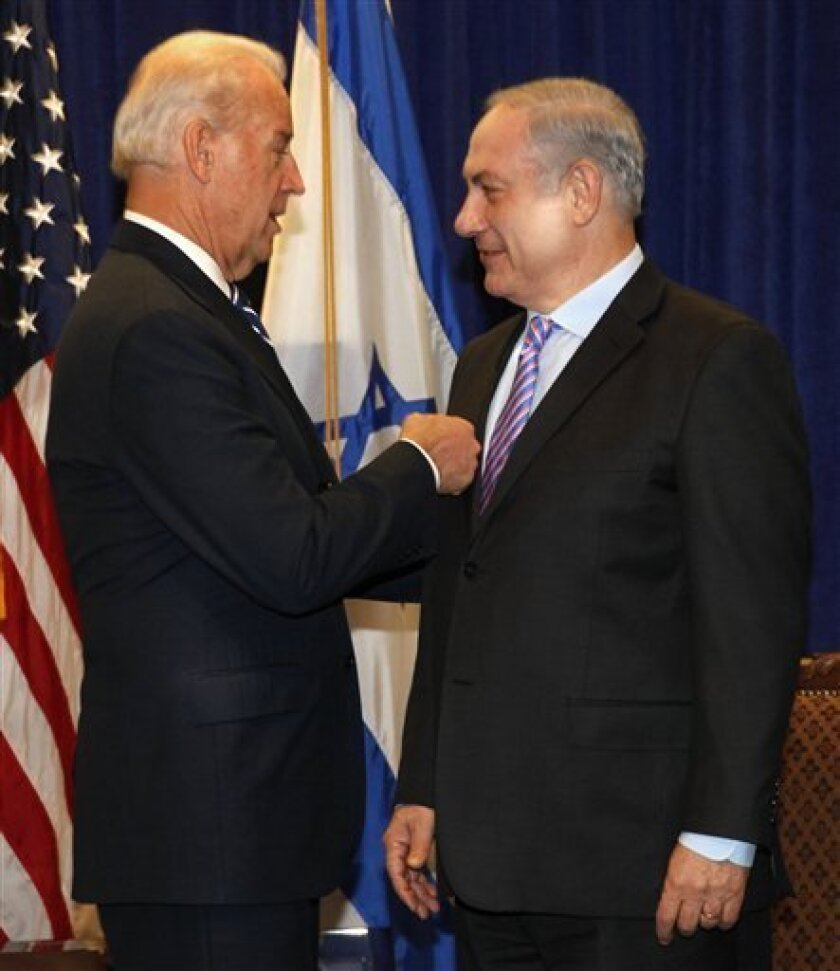 Vice President Joe Biden meets with Israeli Prime Minister Benjamin Netanyahu at the annual General Assembly of the Jewish Federations of North America in New Orleans, Sunday, Nov. 7, 2010. (AP Photo/Gerald Herbert)