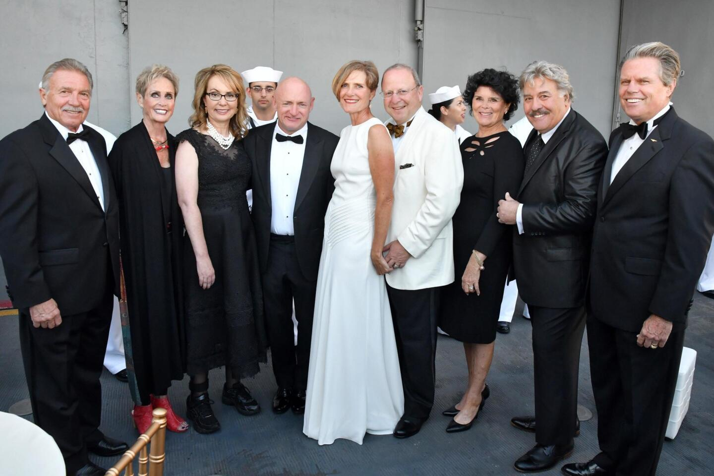 Phil and Connie Conard (she's event chair), Hon. Gabrielle Giffords and Mark Kelly (American Patriot Award honorees), Ann and Ben Haddad (honorary chairs), Nora McLaughlin, Tony Orlando, Mac McLaughlin (RADM, USN, Ret.; USS Midway President/CEO)