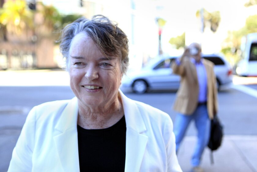 Former San Diego Mayor Maureen O'Connor walked away from San Diego Superior Court after a civil judgement in her and her sister Mavourneen F. O'Connor's favor for $7 million dollars was awarded.
