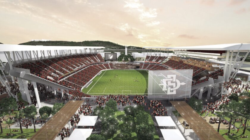Rendering of proposed SDSU multi-use stadium in Mission Valley.