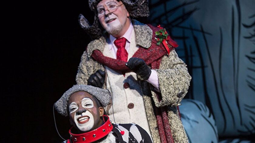 Steve Gunderson as Old Max (top) and Tyrone Davis, Jr. as Young Max at The Old Globe's 'Grinch.'
