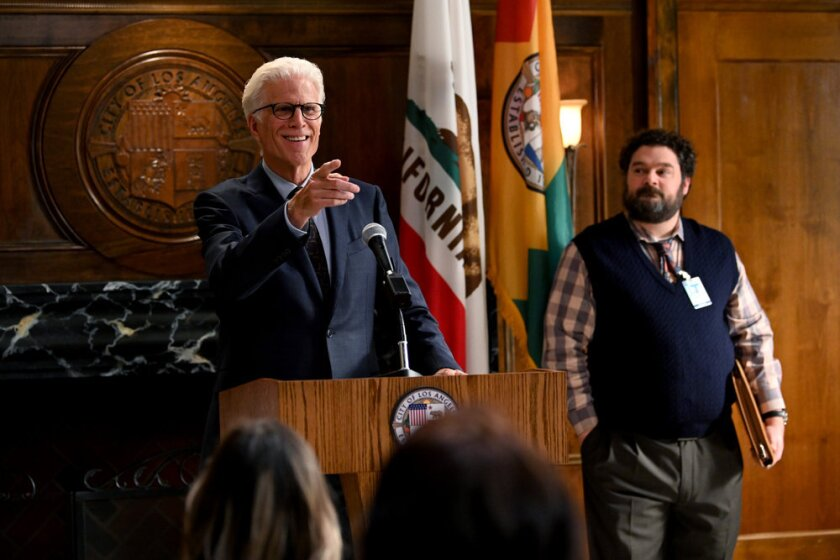 """Ted Danson, left, and Bobby Moynihan in NBC's """"Mr. Mayor."""""""