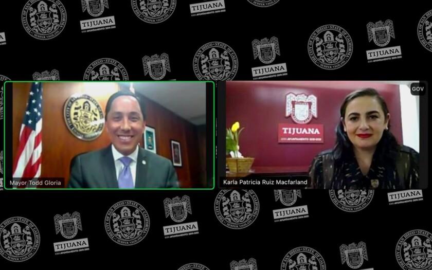 El alcalde de San Diego, Todd Gloria en reunión virtual con la alcaldesa de Tijuana, Karla Ruiz MacFarland.