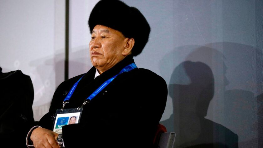 Kim Yong Chol, vice chairman of North Korea's ruling Workers' Party Central Committee, attends the Olympics closing ceremony in South Korea.