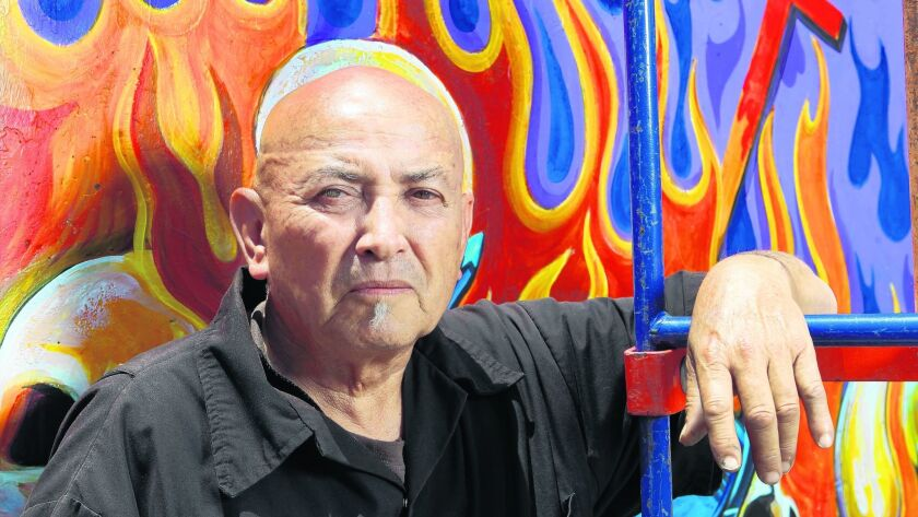 June 14, 2012, San Diego, CA-.|Five of the original muralists who worked on the original murals that