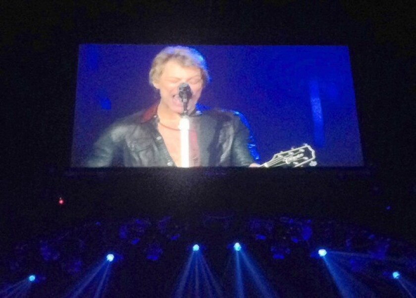 """Rock band Bon Jovi perform at the Honda Center on Wednesday as part of their 2013 """"Because We Can"""" tour."""