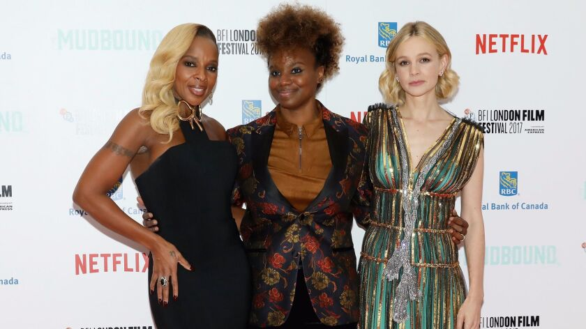 """Singer Mary J. Blige, left, director Dee Rees and actress Carey Mulligan attend the Royal Bank of Canada Gala & European Premiere of """"Mudbound"""" during the 61st BFI London Film Festival on Oct. 5, 2017."""
