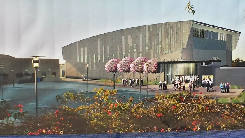 A rendering of the Cal State San Marcos University Sports Center shows what the building will look like when it opens next August.